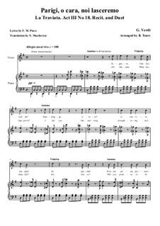 Parigi, o cara, noi lasceremo: Für Stimmen und Klavier by Giuseppe Verdi