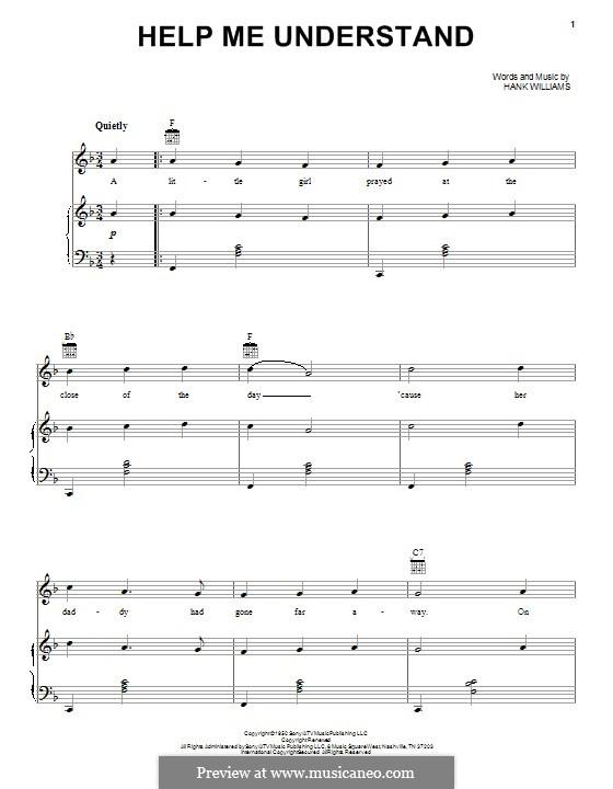 Help Me Understand: Für Stimme und Klavier (oder Gitarre) by Hank Williams