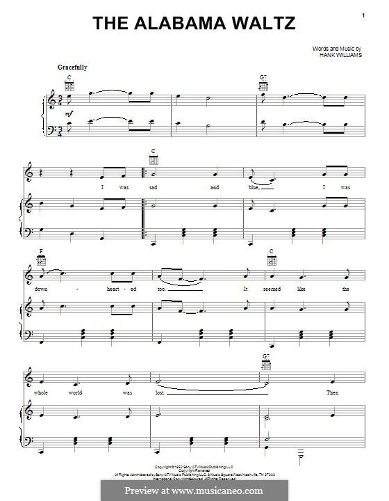 The Alabama Waltz: Für Stimme und Klavier (oder Gitarre) by Hank Williams