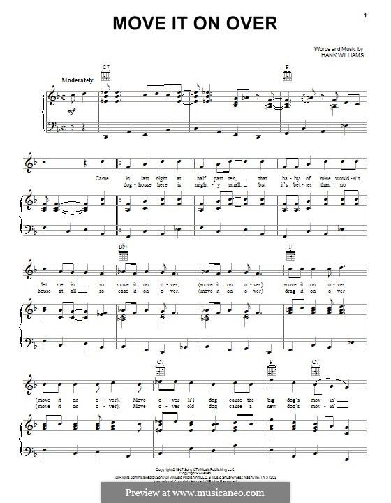 Move It on Over: Für Stimme und Klavier (oder Gitarre) by Hank Williams