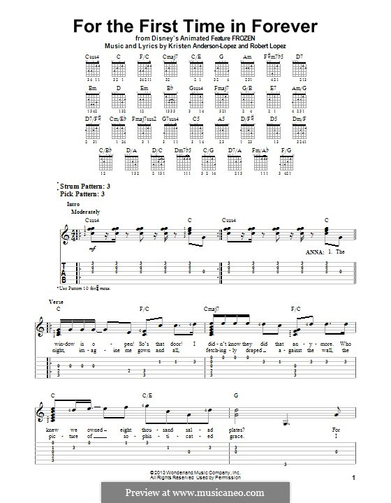 For the First Time in Forever (from Frozen: The Broadway Musical): Für Gitarre mit Tab by Robert Lopez, Kristen Anderson-Lopez