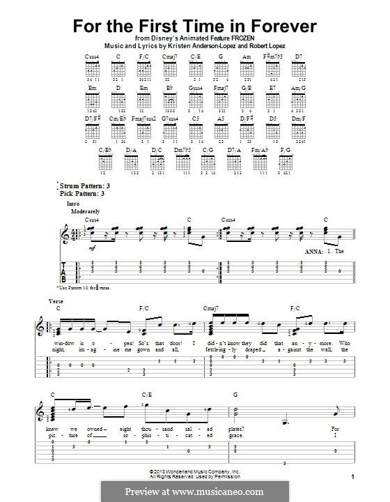 For the First Time in Forever (Kristen Bell & Idina Menzel): Für Gitarre mit Tab by Robert Lopez, Kristen Anderson-Lopez
