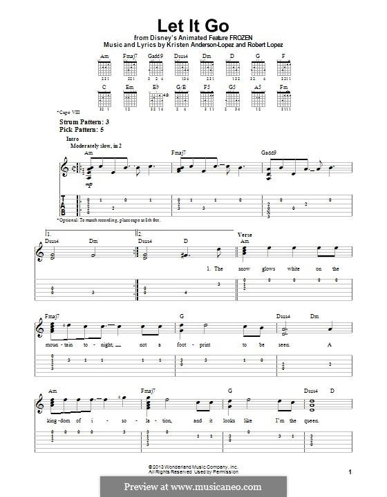 Let It Go (from Frozen): Für Gitarre mit Tab by Robert Lopez, Kristen Anderson-Lopez