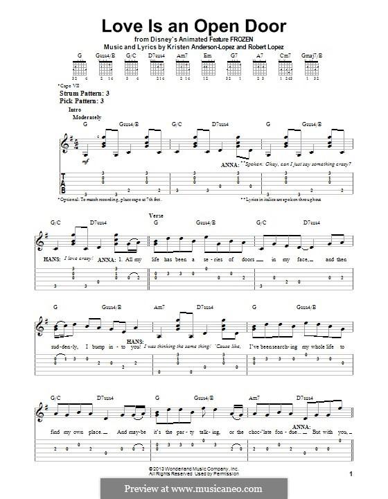 Love Is an Open Door: Für Gitarre mit Tab by Robert Lopez, Kristen Anderson-Lopez