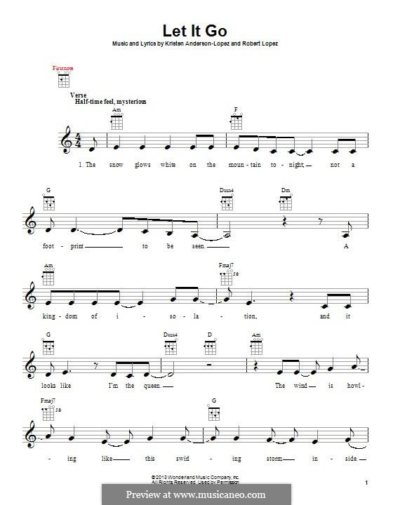 Let It Go (from Frozen): Für Ukulele by Robert Lopez, Kristen Anderson-Lopez
