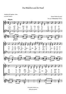 Volkskinderlieder, WoO 31: Nr.10 Das Mädchen und die Hasel, für Stimme und Gitarre by Johannes Brahms
