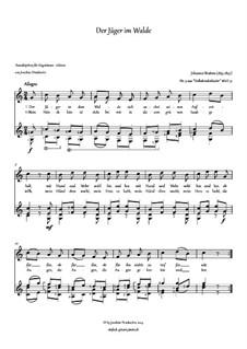 Volkskinderlieder, WoO 31: Nr.9 Der Jäger im Walde, für Stimme und Gitarre by Johannes Brahms