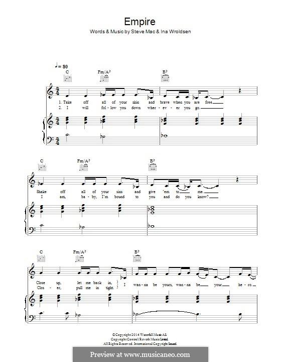 Empire (Shakira feat. Rihanna): Für Stimme und Klavier (oder Gitarre) by Ina Wroldsen, Steve Mac