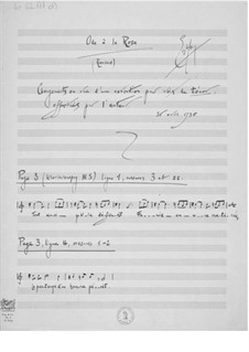 Ode à la rose für Stimme und Orchester: Änderungen einzelner Passagen der Tenorstimme by Ernst Levy