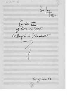 Kantate Nr.8 auf Texte von Schiller: Vollpartitur by Ernst Levy