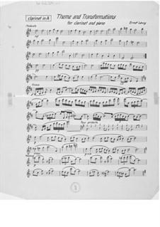 Thema und Transformationen für Klarinette und Klavier: Klarinettenstimme by Ernst Levy