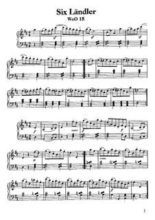 Sechs Ländlerische Tänze für zwei Violinen und Cello, WoO 15: Vollständiger Satz, für Klavier by Ludwig van Beethoven