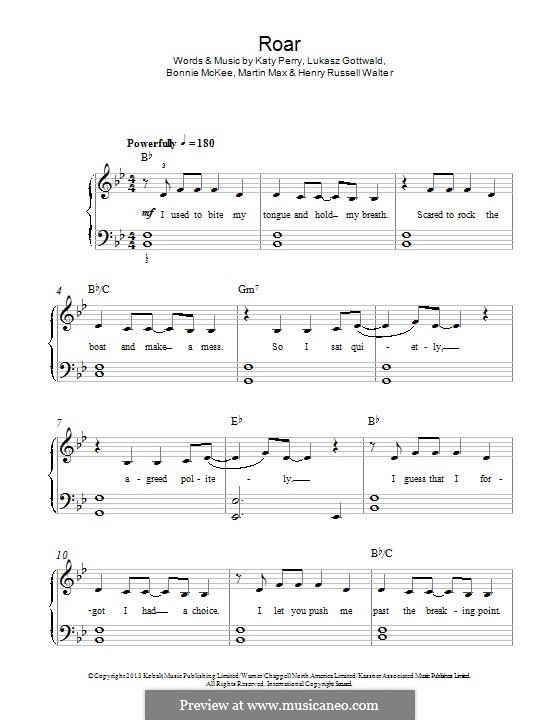 Roar: Für Klavier by Bonnie McKee, Katy Perry, Lukas Gottwald, Max Martin, Henry Russell Walter