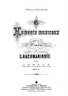Six Moments Musicaux, Op.16: Vollsammlung by Sergei Rachmaninoff