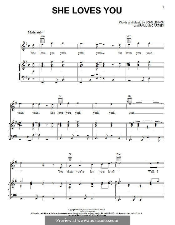 She Loves You (The Beatles): Für Stimme und Klavier (oder Gitarre) by John Lennon, Paul McCartney