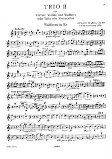 Trio für Waldhorn (oder Cello), Violine und Klavier, Op.40: Waldhornstimme (Version II) by Johannes Brahms