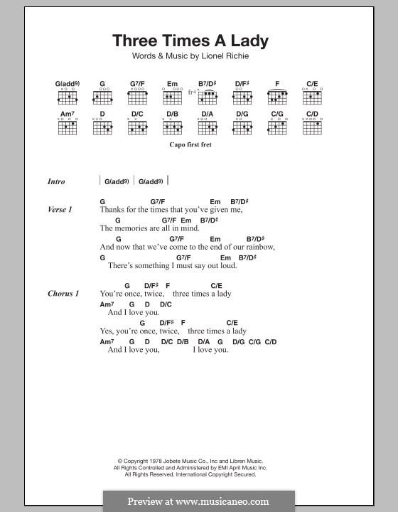 Three Times a Lady: Texte und Akkorde by Lionel Richie
