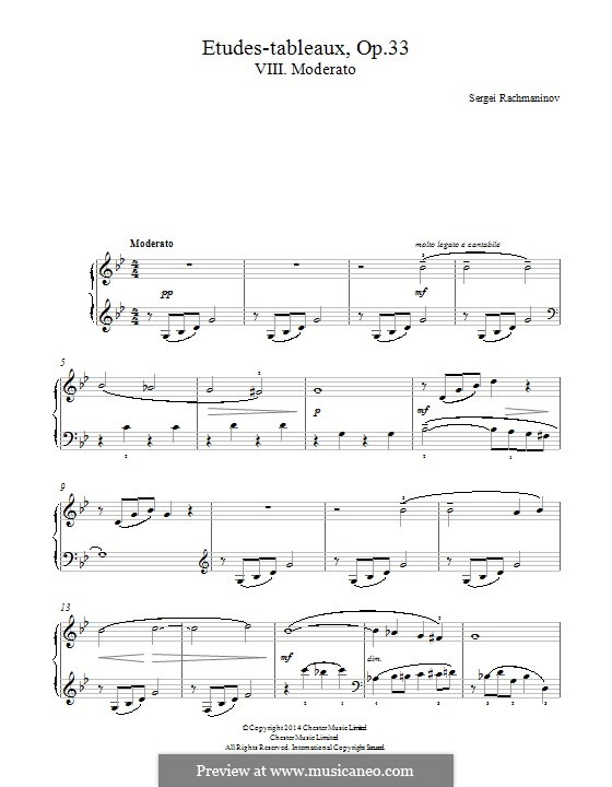 Etudes-tableaux, Op.33: Nr.8 in cis-Moll by Sergei Rachmaninoff