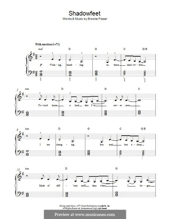 Shadowfeet: Für Klavier by Brooke Fraser