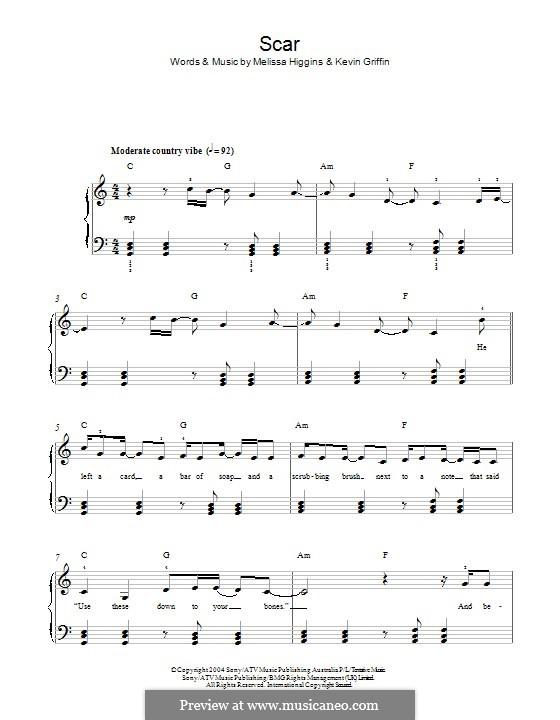 Scar (Missy Higgins): Für Klavier by Kevin Griffin, Melissa Higgins