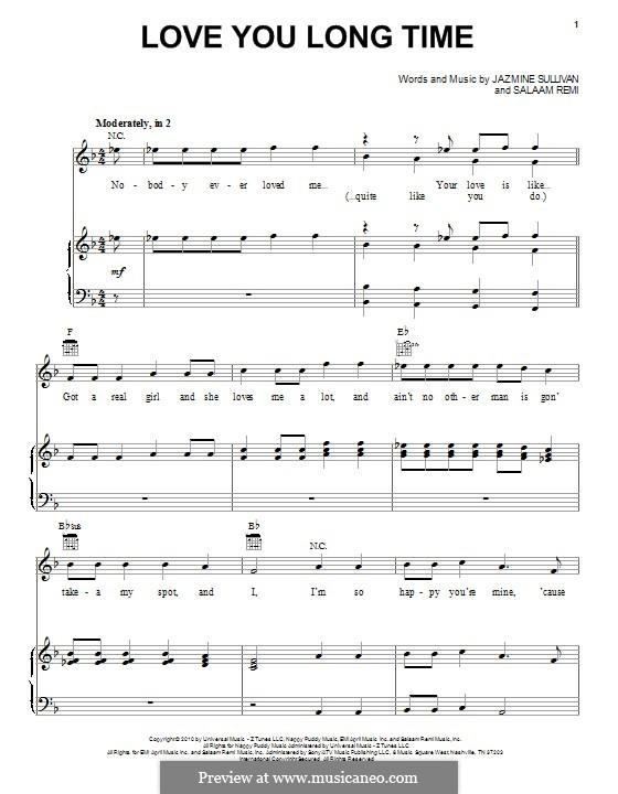 Love You Long Time (Pentatonix): Für Stimme und Klavier (oder Gitarre) by Jazmine Sullivan, Salaam Remi