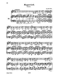 Vier Lieder, Op.46: Nr.2 Magyarisch by Johannes Brahms