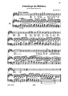 Sieben Lieder, Op.48: Nr.3 Liebesklage des Mädchens by Johannes Brahms