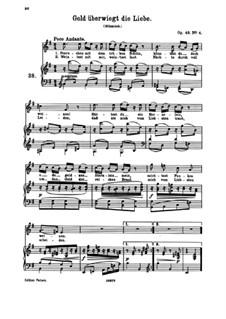 Sieben Lieder, Op.48: Nr.4 Gold überwiegt die Liebe by Johannes Brahms