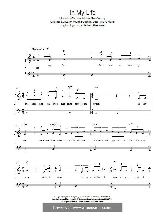 In My Life: Für Klavier by Claude-Michel Schönberg
