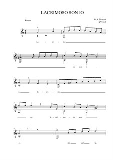 Lacrimoso son'io, K.555: For guitar quartet by Wolfgang Amadeus Mozart