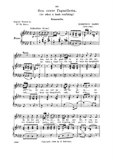 Sen corre l'agneletta: Sen corre l'agnelletta, Medium Voice in F Minor by Domenico Sarro