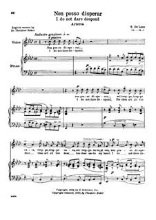 Non posso disperar: Medium-high voice in F Minor by Sergio de Luca