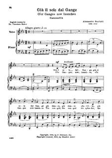Gia' il sole dal Gange: Low voice in E Flat Major by Alessandro Scarlatti