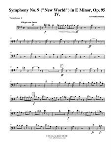 Teil IV: Trombone bass clef 1 (transposed part) by Antonín Dvořák