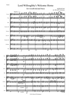 Lord Willoughby's Welcome Home: For woodwind and brass by folklore, David W Solomons