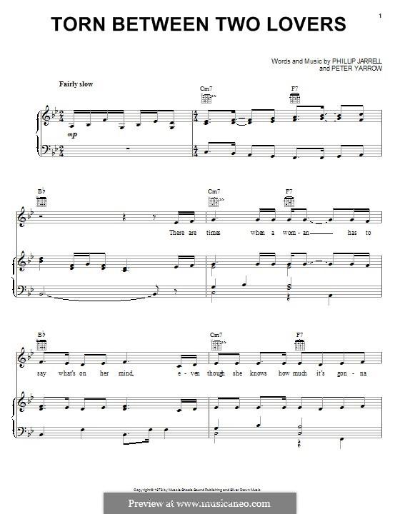 Torn Between Two Lovers: Für Stimme und Klavier (oder Gitarre) by Peter Yarrow, Phillip Jarrell