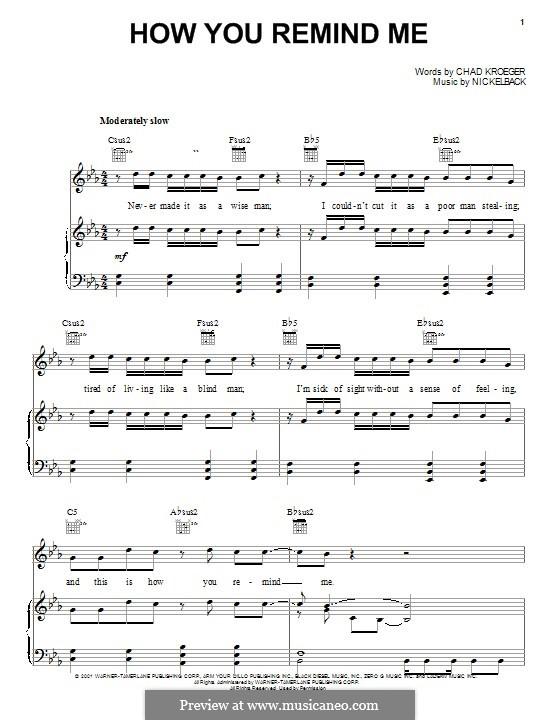 How You Remind Me (Nickelback): Für Stimme und Klavier (oder Gitarre) by Chad Kroeger, Michael Kroeger, Ryan Peake, Ryan Vikedal