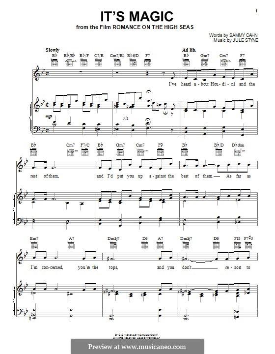 It's Magic: Für Stimme und Klavier (oder Gitarre) by Jule Styne