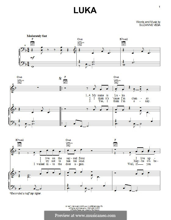 Luka: Für Stimme und Klavier (oder Gitarre) by Suzanne Vega