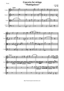 Concerto for Strings in D Minor 'Madrigalesco', RV 129: Score and parts by Antonio Vivaldi