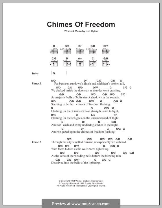Chimes of Freedom: Texte und Akkorde by Bob Dylan