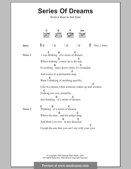 Series of Dreams: Texte und Akkorde by Bob Dylan