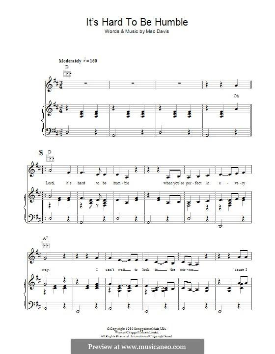 It's Hard To Be Humble: Für Stimme und Klavier (oder Gitarre) by Mac Davis