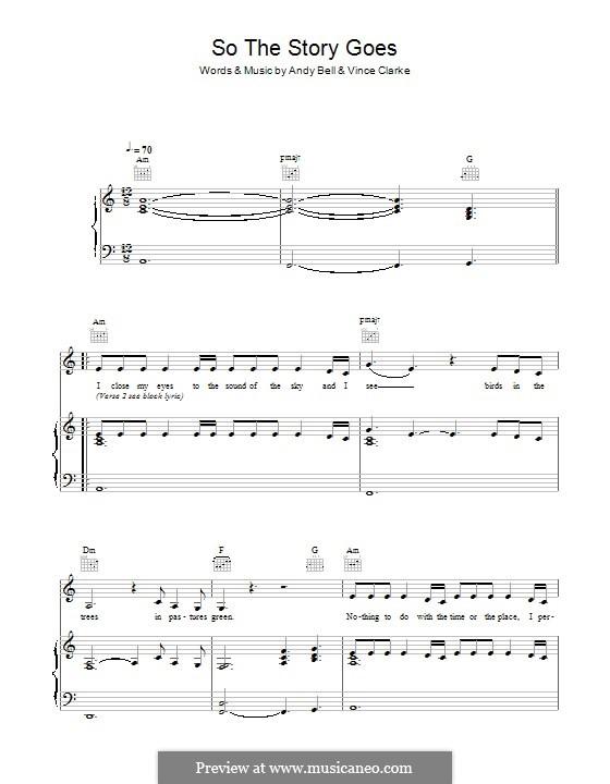 So the Story Goes (Erasure): Für Stimme und Klavier (oder Gitarre) by Andy Bell, Vince Clarke