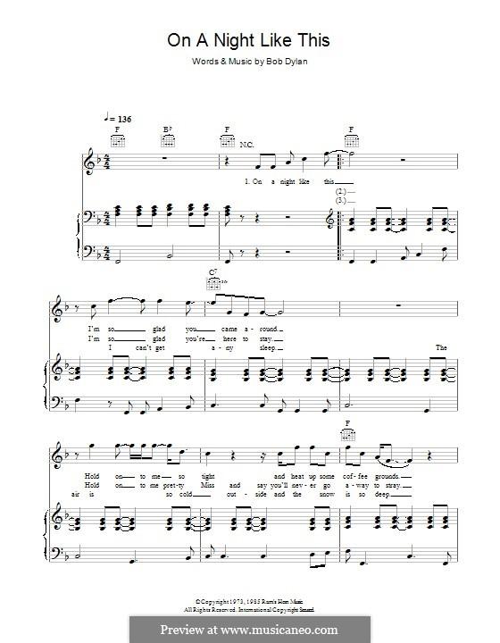 On a Night Like This: Für Stimme und Klavier (oder Gitarre) by Bob Dylan