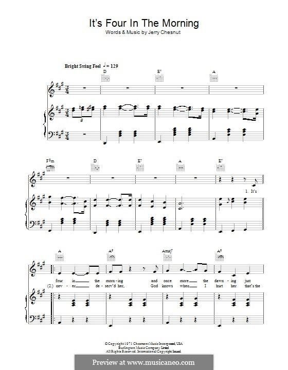 It's Four in the Morning (Faron Young): Für Stimme und Klavier (oder Gitarre) by Jerry Chesnut