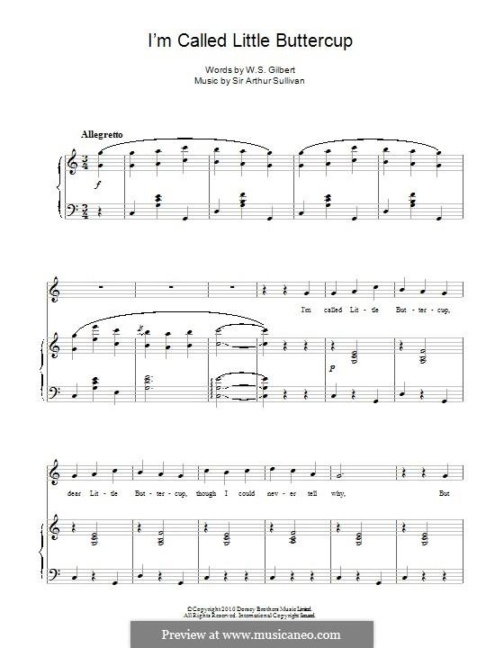 I'm Called Little Buttercup: Für Stimme und Klavier by Arthur Sullivan