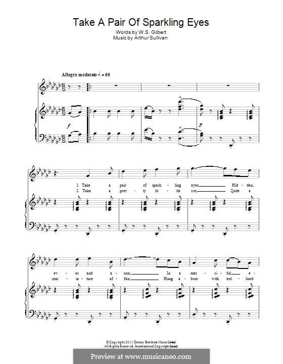 Take a Pair of Sparkling Eyes: Für Stimme und Klavier by Arthur Sullivan