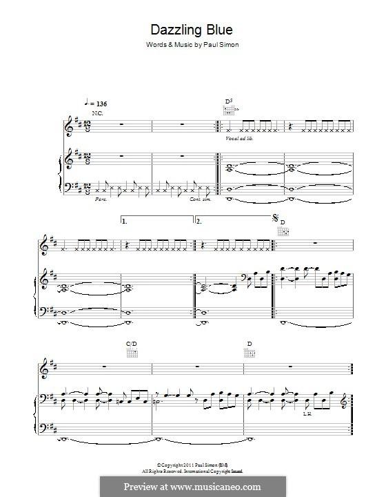 Dazzling Blue: Für Stimme und Klavier (oder Gitarre) by Paul Simon
