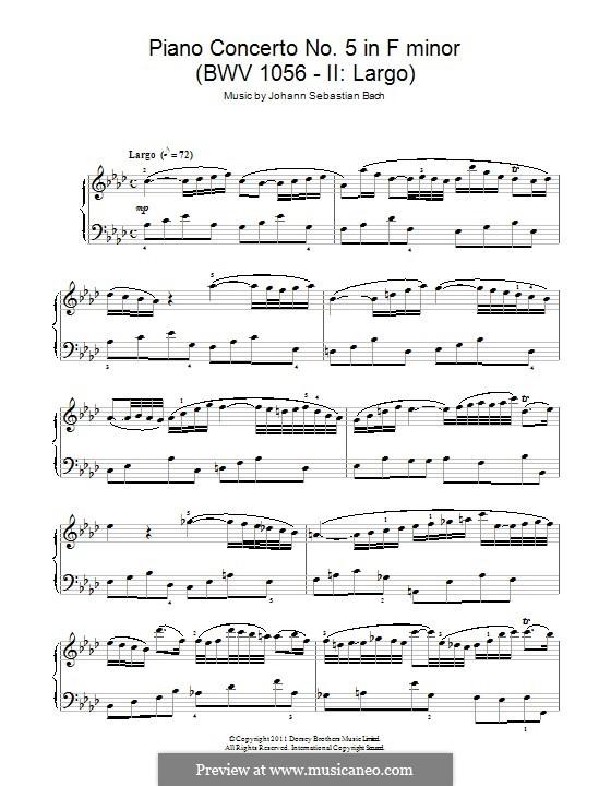 Konzert für Cembalo und Streicher Nr.5 in f-Moll, BWV 1056: Teil II. Bearbeitung für Klavier by Johann Sebastian Bach